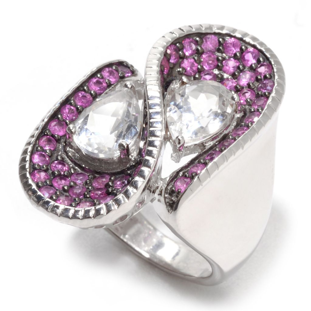 139-580 - Gem Treasures Sterling Silver 3.90ctw White Topaz & Pink Sapphire Wave Ring