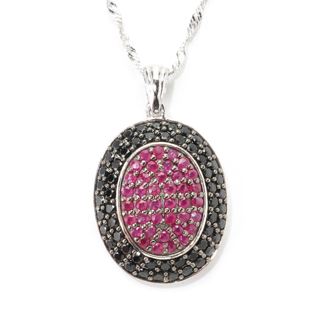 139-581 - Gem Treasures Sterling Silver 2.72ctw Ruby & Black Spinel Oval Frame Pendant