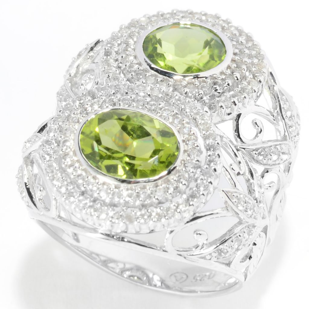 139-582 - Gem Treasures Sterling Silver 3.10ctw Peridot & White Topaz Openwork Ring