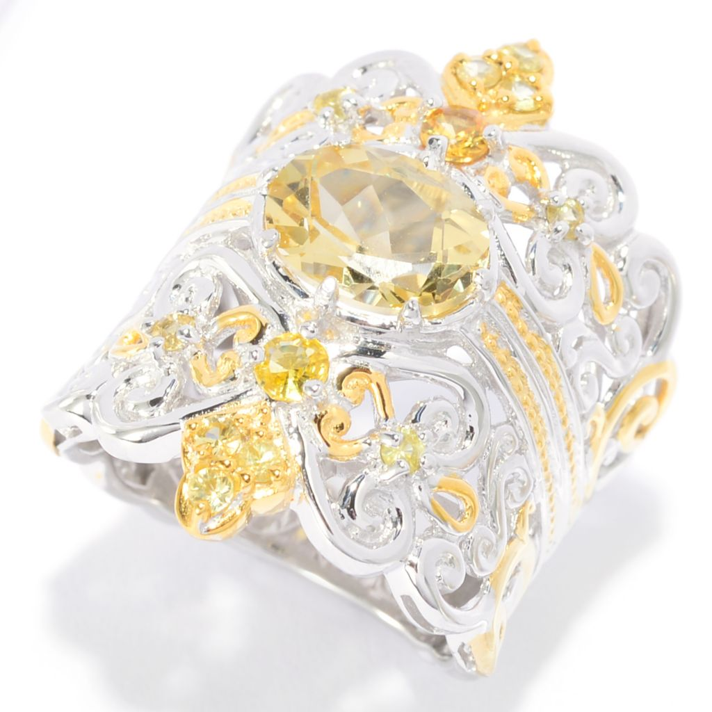 139-586 - Gems en Vogue 2.49ctw Oval Canary Beryl & Yellow Sapphire Wide Band Ring