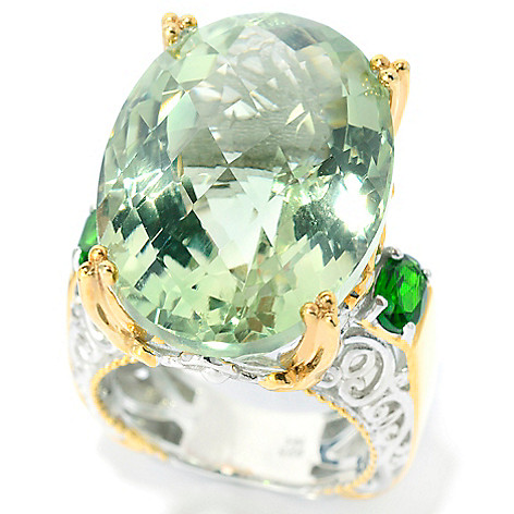 139-587 - Gems en Vogue II 25.60ctw Brazilian Prasiolite & Chrome Diopside Ring