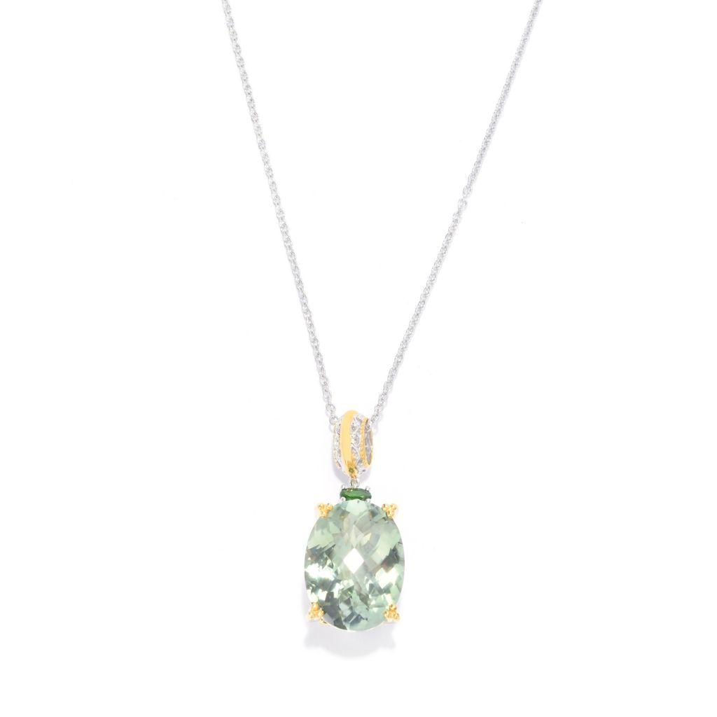139-595 - Gems en Vogue 17.46ctw Brazilian Prasiolite & Chrome Diopside Pendant w/ Chain