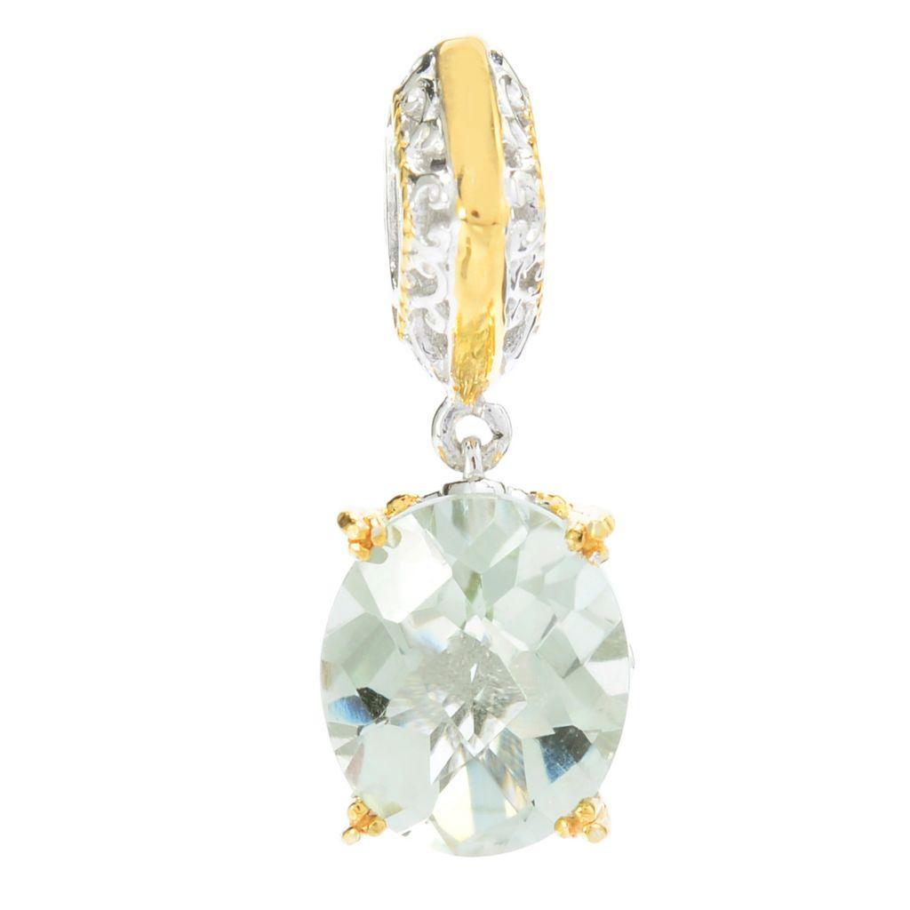 139-596 - Gems en Vogue 4.25ctw Oval Brazilian Prasiolite Drop Charm