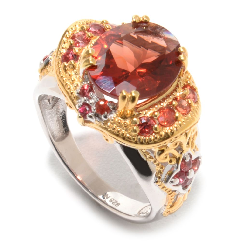 139-597 - Gems en Vogue II 3.12ctw Oval Andesine & Dark Orange Sapphire Ring