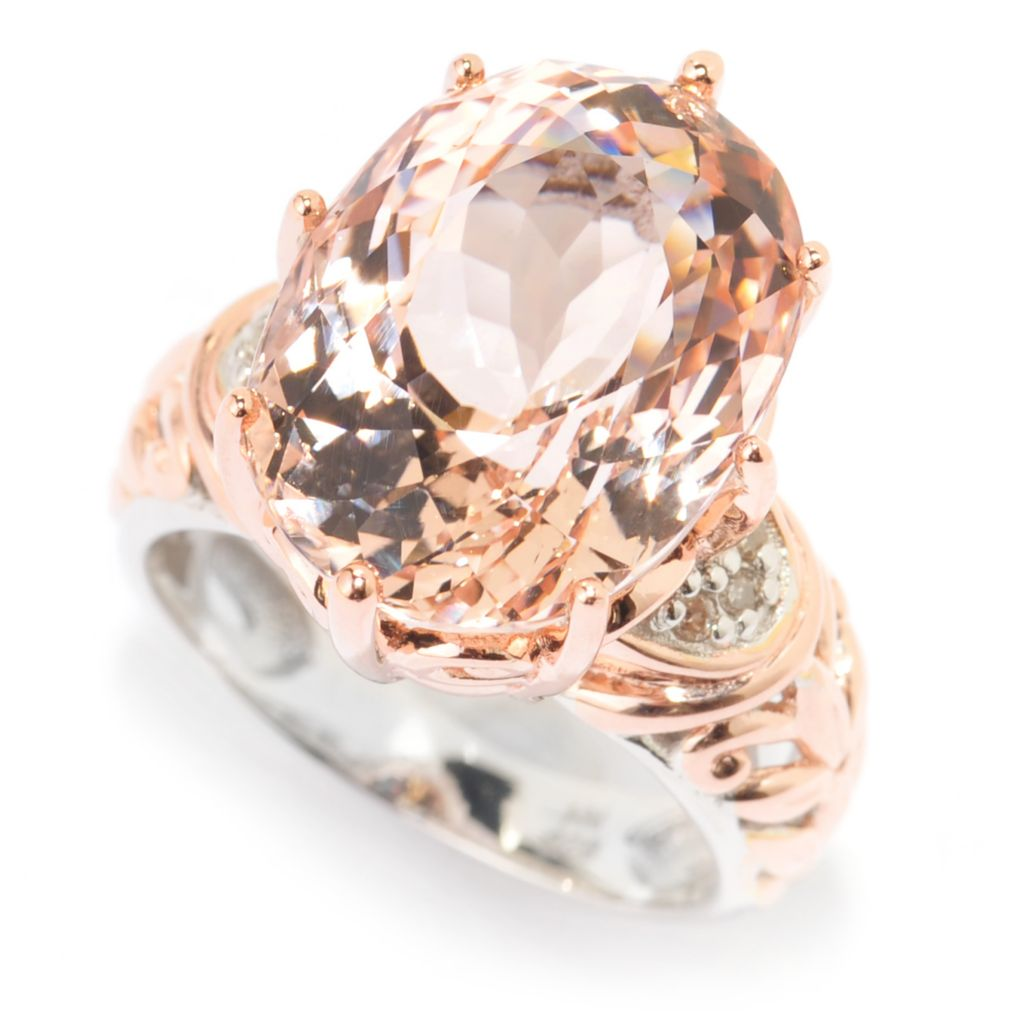 139-598 - Gems en Vogue 10.46ctw Oval Morganite & Diamond Textured Shank Ring