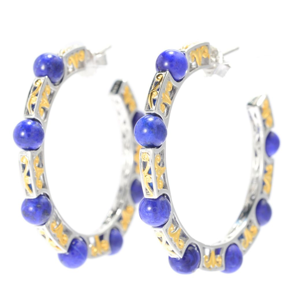 "139-600 - Gems en Vogue II 1.5"" Round Lapis Lazuli Bead Hoop Earrings"
