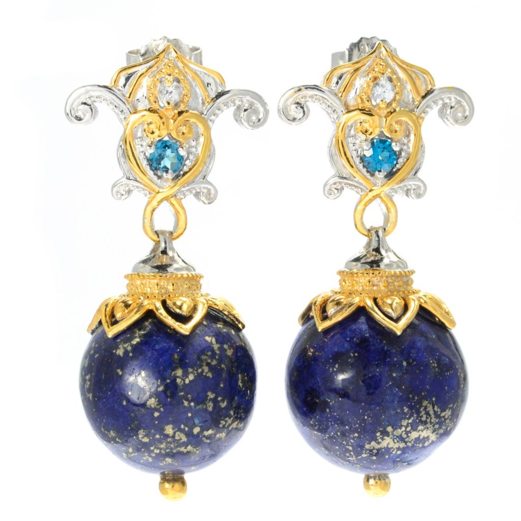 "139-602 - Gems en Vogue II 1.5"" 16mm Round Lapis Lazuli Bead & Multi Gemstone Drop Earrings"