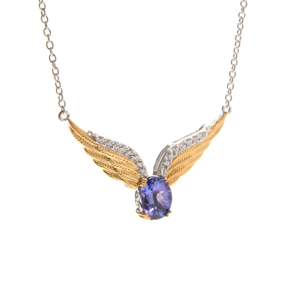 "139-603 - Gems en Vogue 18"" 2.21ctw Tanzanite & Multi Gem Angel Wing Necklace"