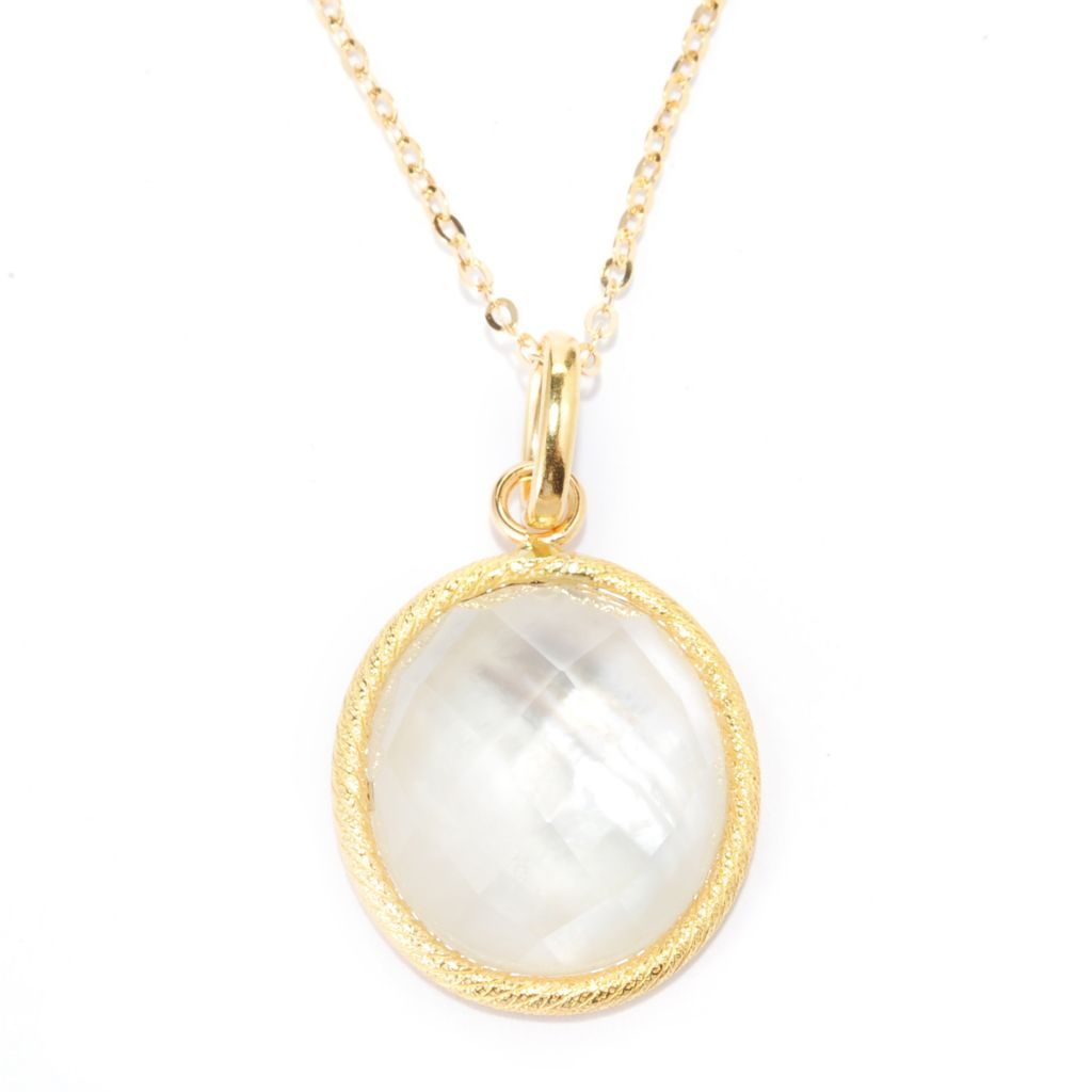139-604 - Viale18K® Italian Gold 18 x 16mm Quartz Mother-of-Pearl Doublet Pendant