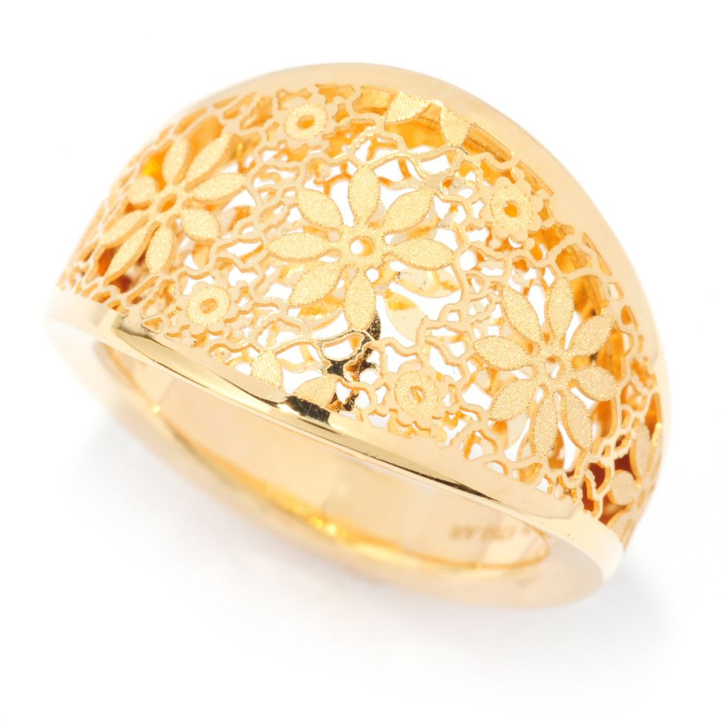 139-631 - Italian Designs with Stefano 14K Gold Polished & Satin Finished Ricami Petalo Ring