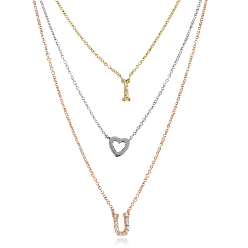 "139-640 - Tressa Collection Sterling Silver 17.5"" Tri-color I Heart You Simulated Diamond Necklace"