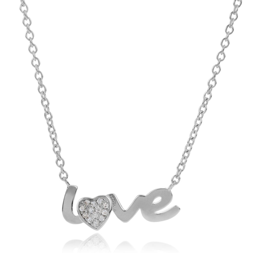 "139-641 - Tressa Collection Sterling Silver 18"" Love Simulated Diamond Necklace"