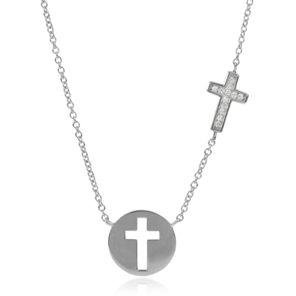 "139-644 - Tressa Collection Sterling Silver 17.5"" Cut-out Cross Simulated Diamond Necklace"