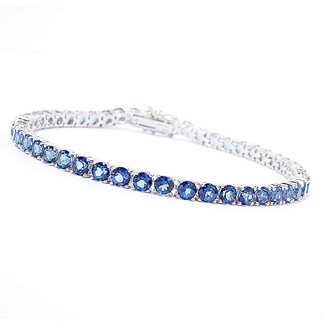 139-646 - Gem Treasures Sterling Silver Exotic Topaz Line Bracelet
