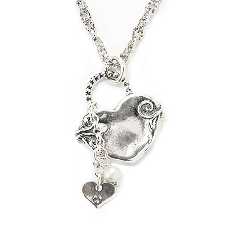 139-648 - Passage to Israel™ Sterling Silver Locket w/ Charm Key & 17'' Twisted Curb Link Chain