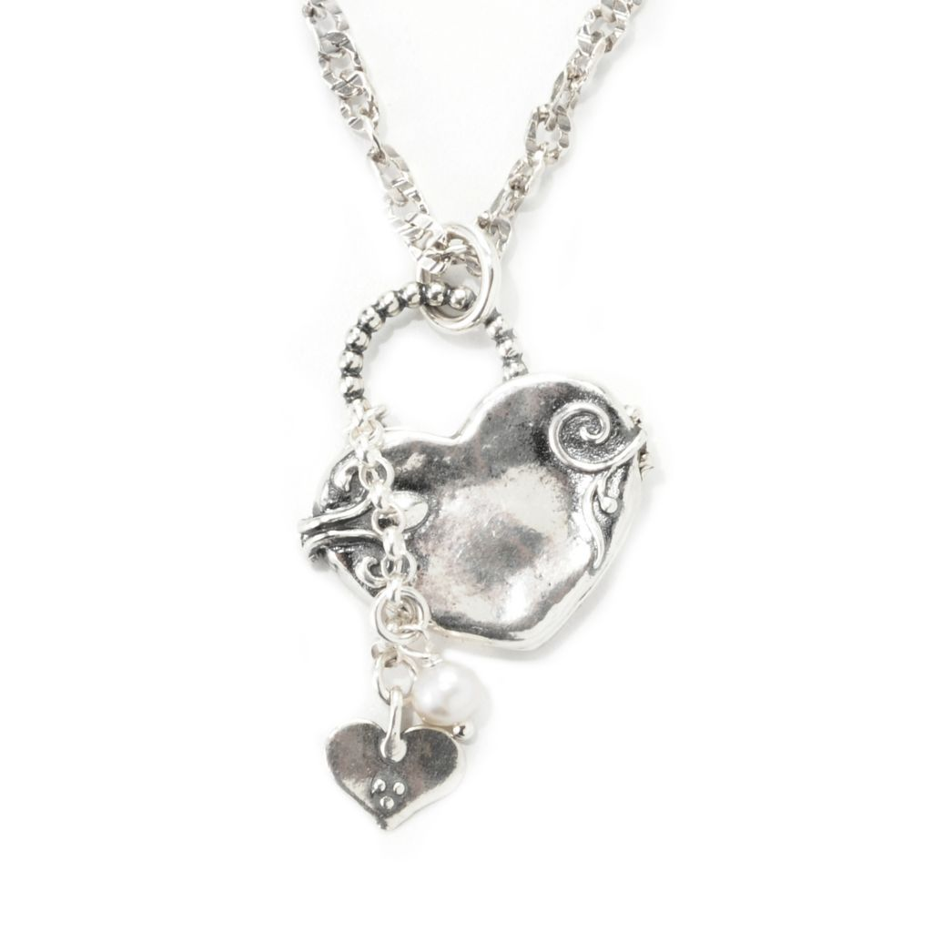 "139-648 - Passage to Israel Sterling Silver 4.75-5mm Cultured Pearl Charm Locket w/ 17"" Chain"