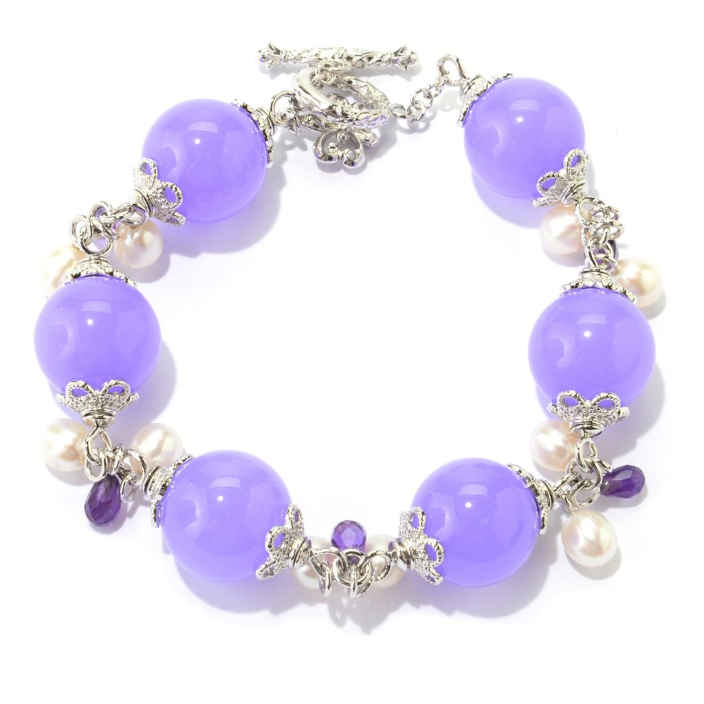 "139-651 - Dallas Prince Sterling Silver 9"" Lavender Quartz Bead & Multi Gem Toggle Bracelet"