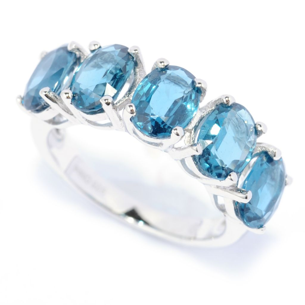 139-652 - Gem Insider Sterling Silver 4.50ctw Teal Kyanite Five-Stone Ring