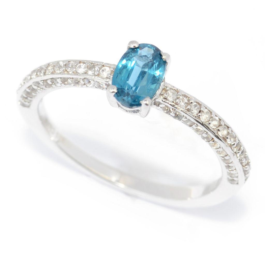 139-653 - Gem Insider Sterling Silver 1.18ctw Oval Teal Kyanite & White Zircon Ring