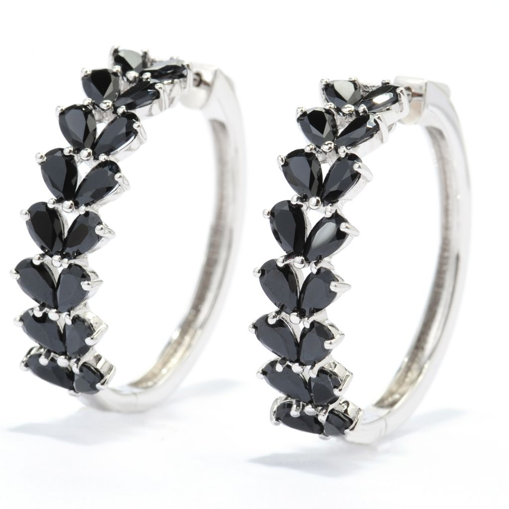 "139-655 - Gem Treasures Sterling Silver 1.25"" 7.36ctw Black Spinel Hoop Earrings"