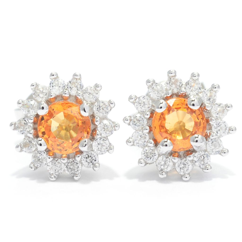 139-657 - Gem Treasures Sterling Silver Spessartite & White Zircon Stud Earrings