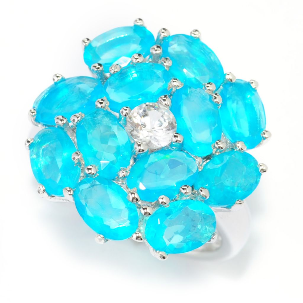 139-660 - Gem Treasures Sterling Silver 3.45ctw Ethiopian Opal & White Zircon Flower Ring