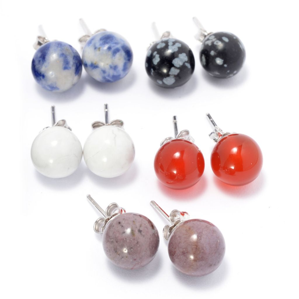 139-662 - Gem Insider Set of Five Sterling Silver 8mm Gemstone Stud Earrings