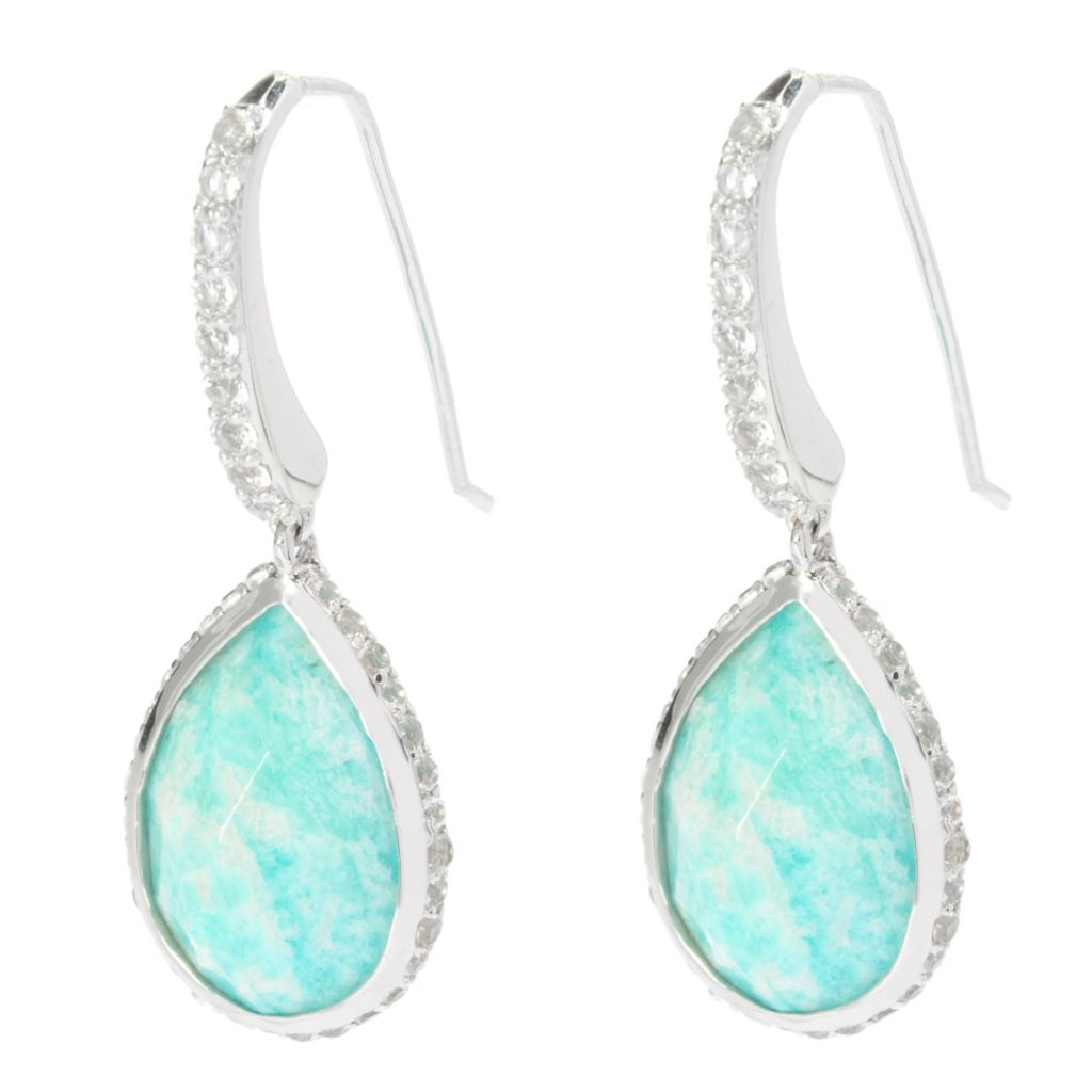 "139-663 - Gem Treasures Sterling Silver 1.5"" 18 x 13mm Amazonite & White Topaz Earrings"
