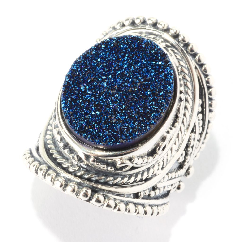 139-667 - Gem Insider Sterling Silver 18 x 14mm Oval Blue Drusy Wide Band Ring