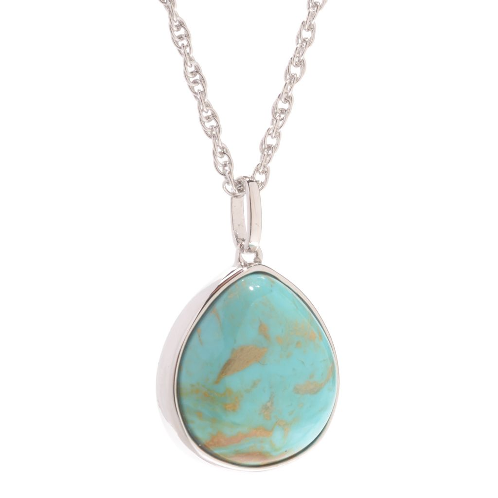 139-668 - Gem Insider Sterling Silver 15 x 14mm Oval Kingman Turquoise Reversible Pendant