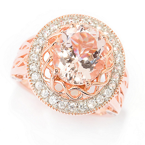 139-669 - NYC II™ 4.08ctw Oval Morganite & White Zircon Halo Ring