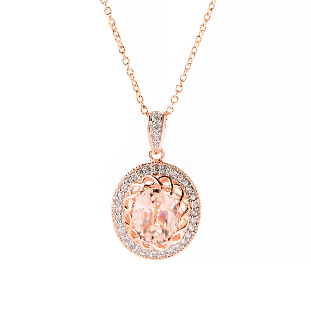 139-670 - NYC II 2.89ctw Oval Morganite & White Zircon Pendant w/ Chain