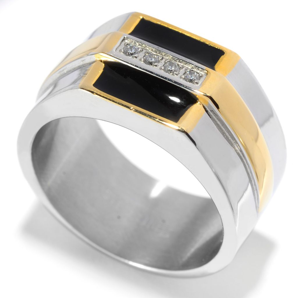139-671 - Steel Impact™ Men's Two-tone Stainless Steel Simulated Diamond Square Top Ring