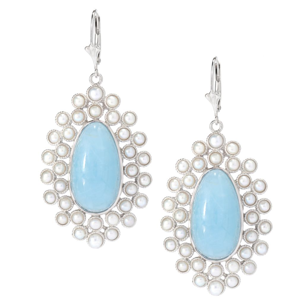 "139-673 - Gem Insider Sterling Silver 2.25"" 22 x 12mm Milky Aquamarine & Cultured Pearl Drop Earrings"