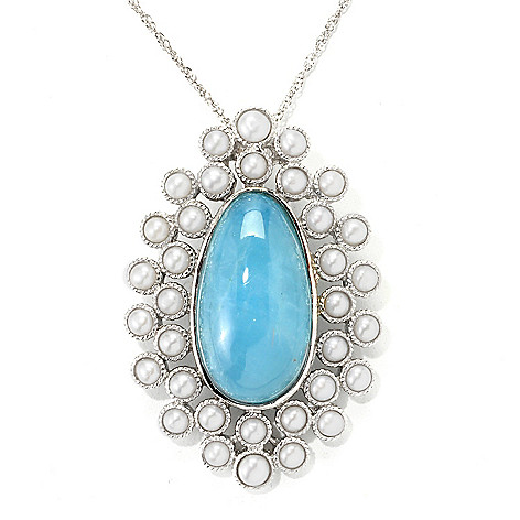 139-674 - Gem Insider™ Sterling Silver 22 x 12mm Milky Aquamarine & Cultured Pearl Pendant w/ 18'' Chain
