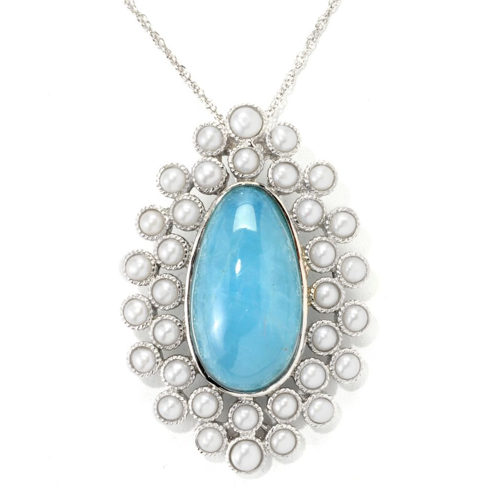 "139-674 - Gem Insider Sterling Silver 22 x 12mm Milky Aquamarine & Cultured Pearl Pendant w/ 18"" Chain"