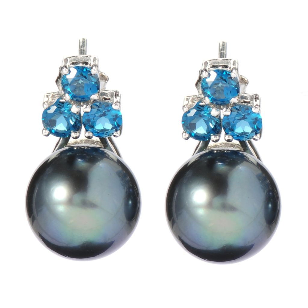 139-675 - Sterling Silver 12-13mm Tahitian Cultured Pearl & London Blue Topaz Earrings