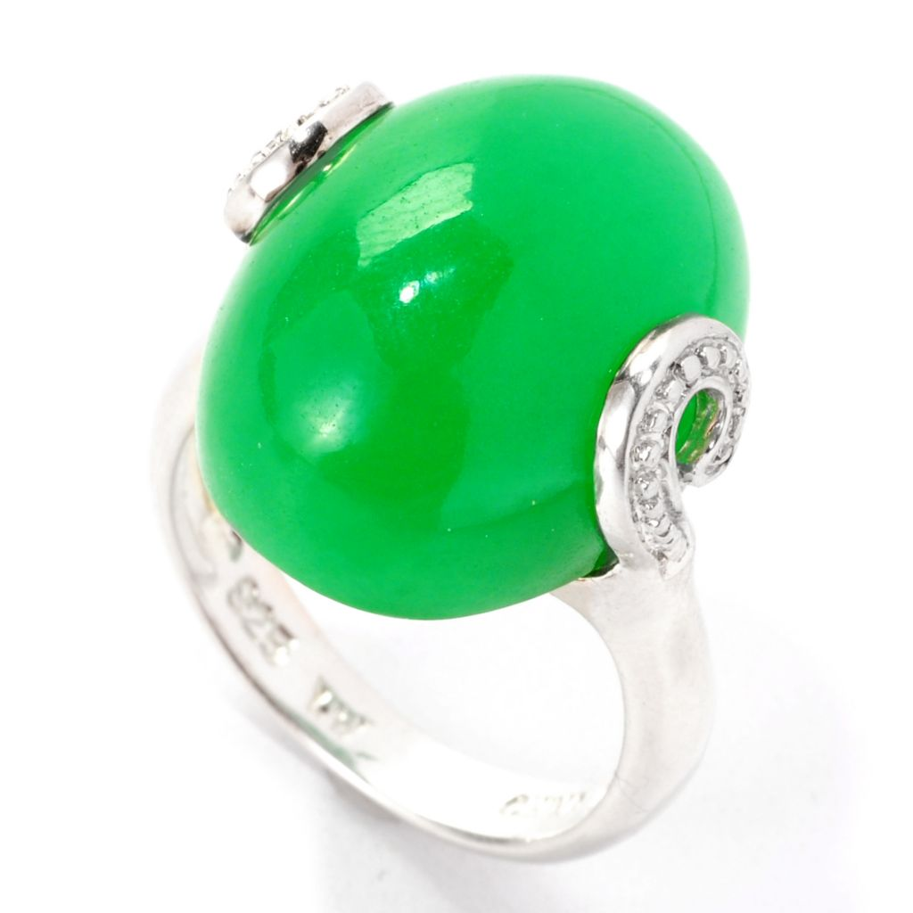 139-678 - Sterling Silver 20 x 15mm Oval Domed Green Jade Curlicue Ring