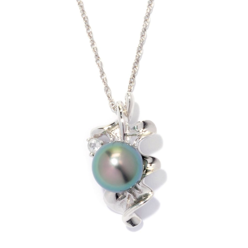 "139-679 - Sterling Silver 8-9mm Tahitian Cultured Pearl & White Topaz Pendant w/ 18"" Chain"