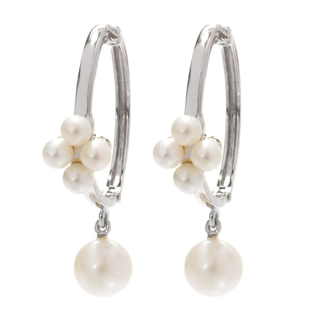 "139-682 - Sterling Silver 1.25"" 8-9mm White Freshwater Cultured Pearl Hoop Earrings"