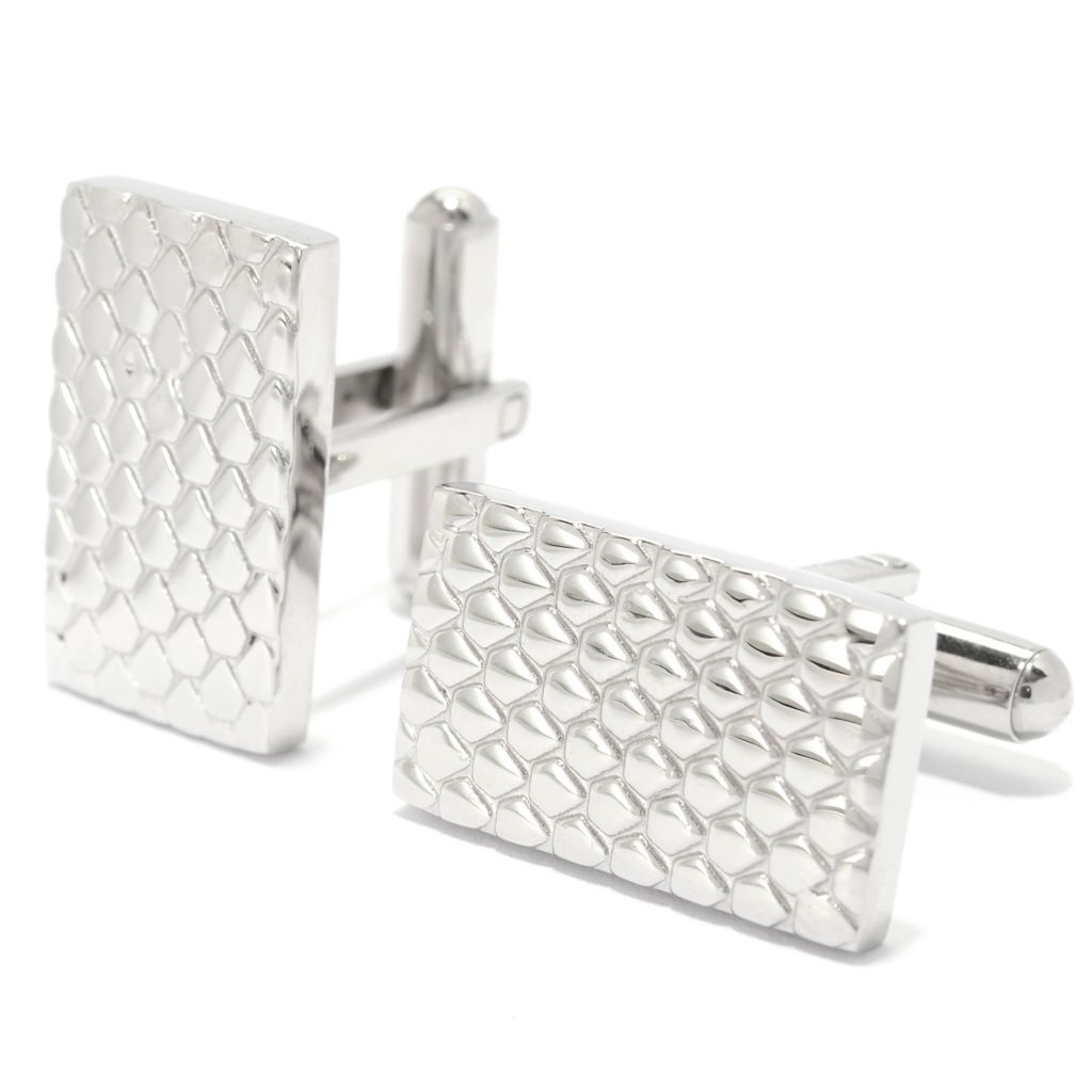 139-691 - Steel Impact™ Men's Stainless Steel Rectangular Cobblestone Design Cufflinks