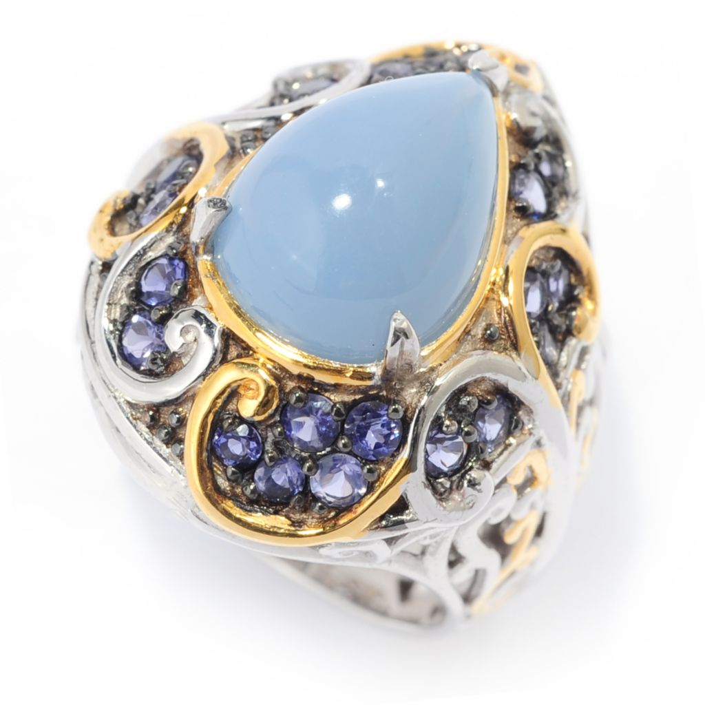 139-692 - Gems en Vogue II 13 x 9mm Pear Shaped Blue Opal & Iolite Ring