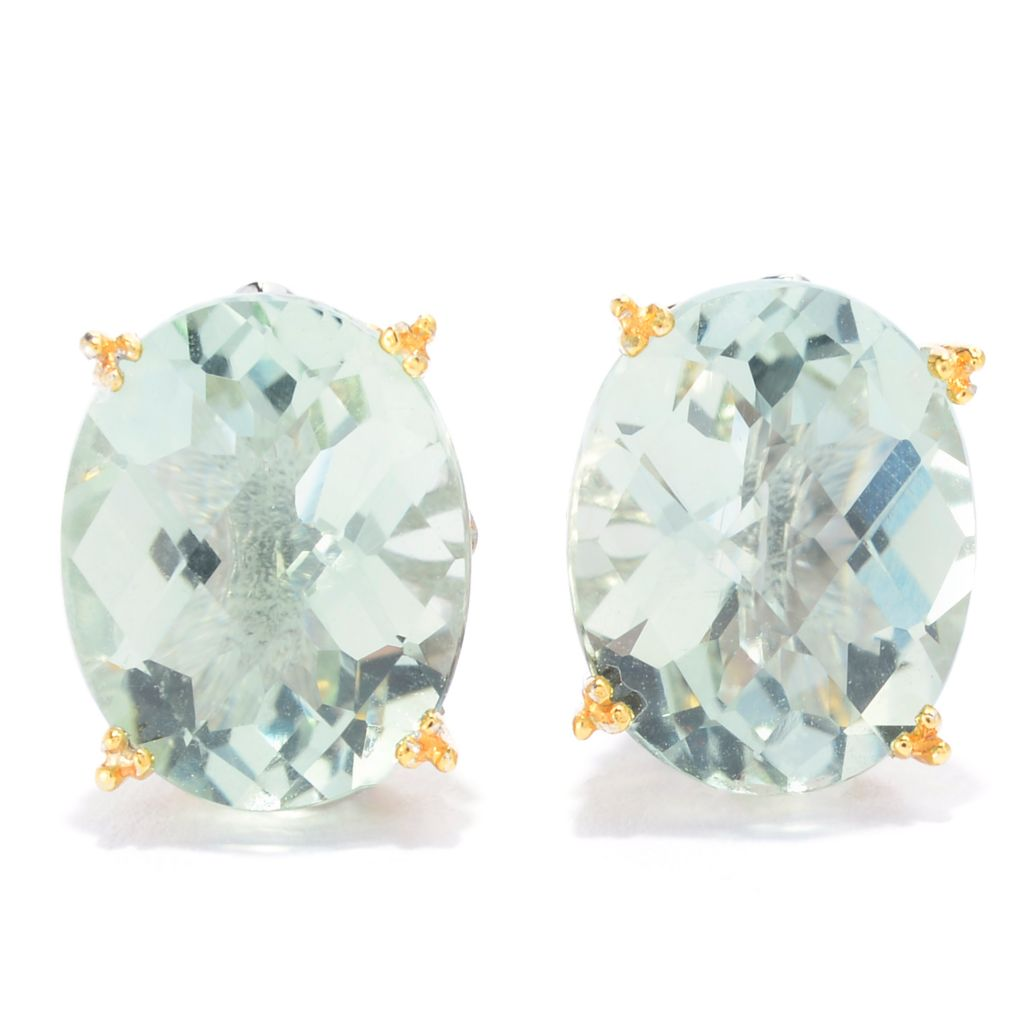 139-693 - Gems en Vogue 4.64ctw Oval Brazilian Prasiolite Stud Earrings