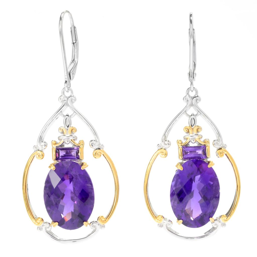 "139-694 - Gems en Vogue II 1.75"" 11.32ctw Tanzanian Color Shift Amethyst Drop Earrings"