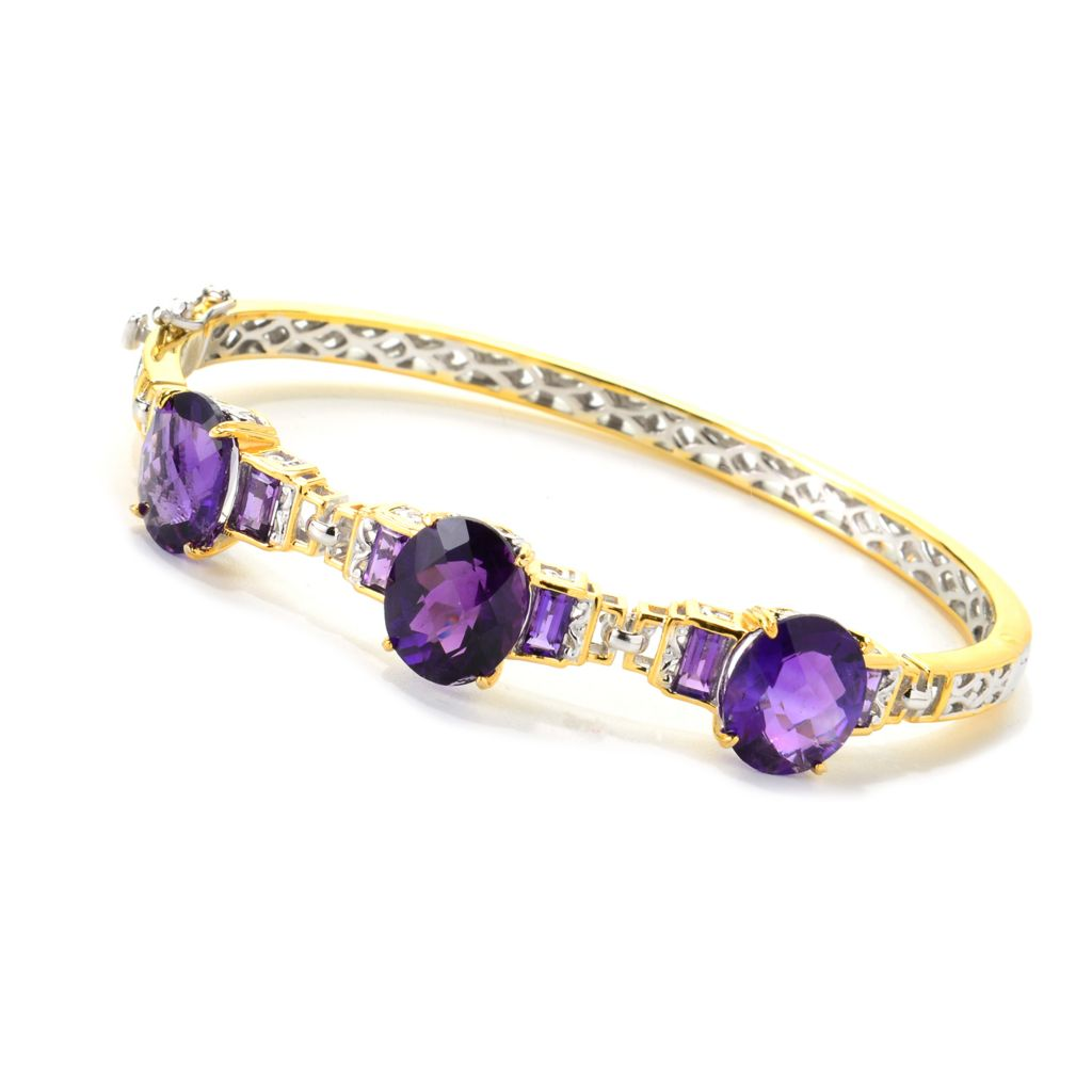 139-695 - Gems en Vogue II 12.81ctw Tanzanian Color Shift Amethyst Hinged Bangle Bracelet