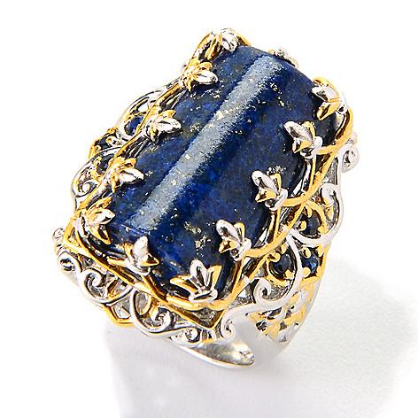 139-698 - Gems en Vogue 20 x 12mm Fancy Cut Lapis Lazuli & Sapphire Ring