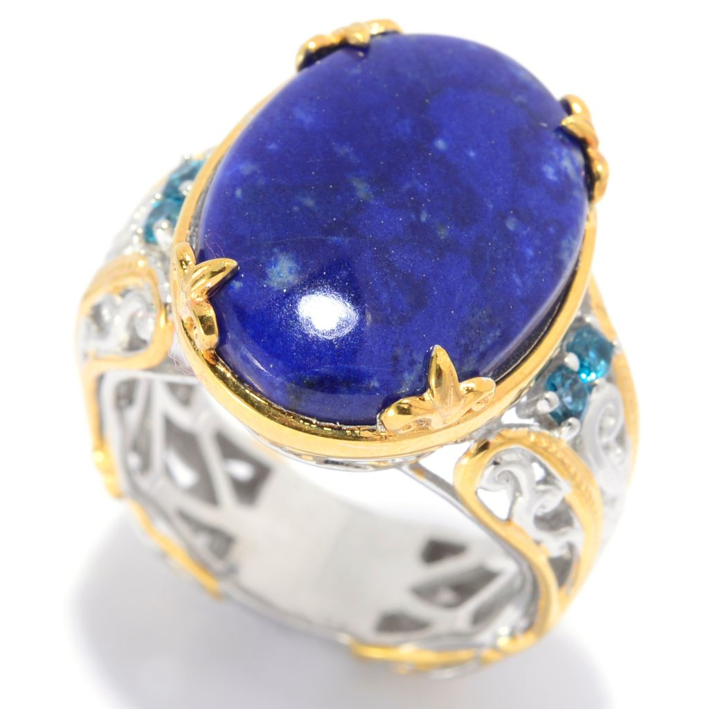 139-699 - Gems en Vogue 18 x 13mm Oval Lapis Lazuli & London Blue Topaz Scrollwork Ring