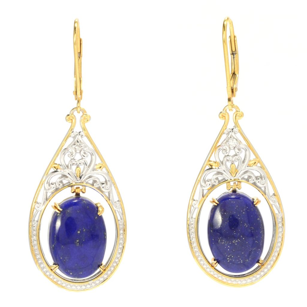 "139-700 - Gems en Vogue II 1.75"" 14 x 10mm Oval Lapis Lazuli & White Sapphire Teardrop Earrings"