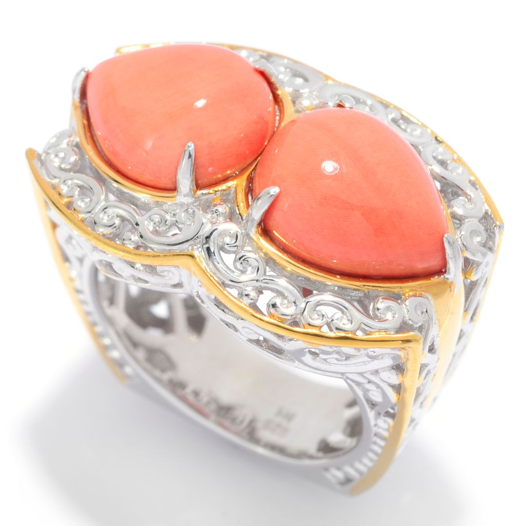 139-702 - Gems en Vogue 11 x 9mm Double Pear Shaped Bamboo Coral Scrollwork Ring