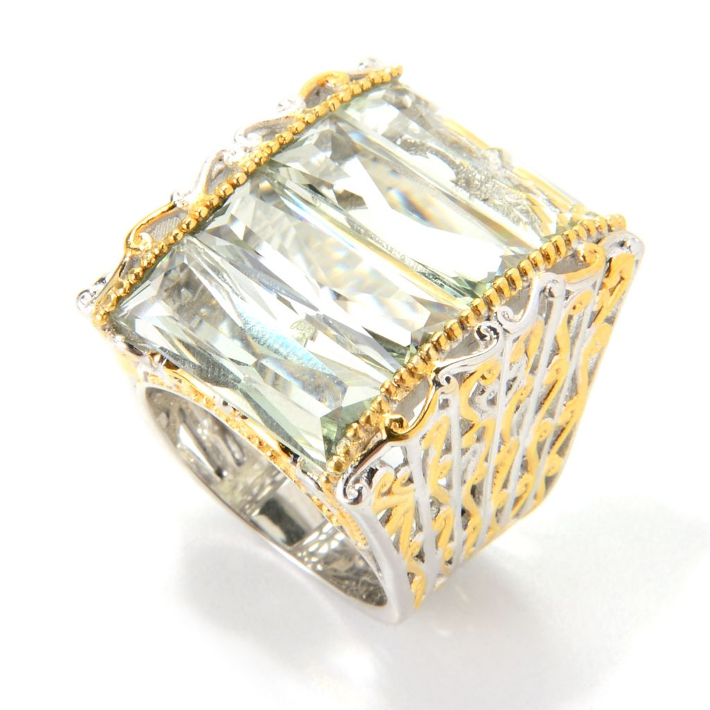 139-704 - Gems en Vogue 12.68ctw Elongated Prasiolite Wide Band Ring